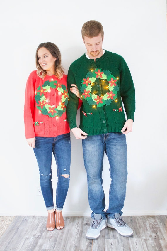 Matching ugly Christmas sweaters // LIGHT UP tacky