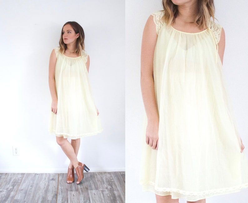 cd624adbff19 Vintage yellow pastel night gown dress // mini yellow dress //   Etsy