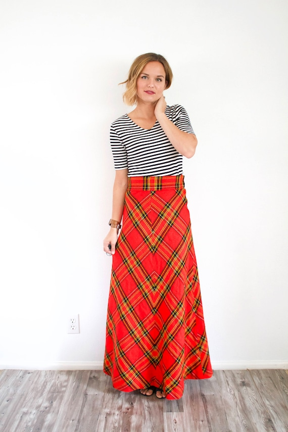 Vintage red classic maxi plaid skirt // Christmas… - image 5