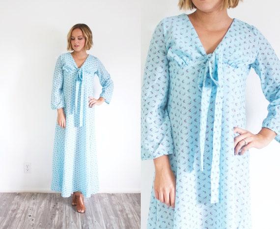 Light blue floral maxi dress long sleeve boho dress bridesmaid dress hippie maxi dress bow neckline medium gown floor length