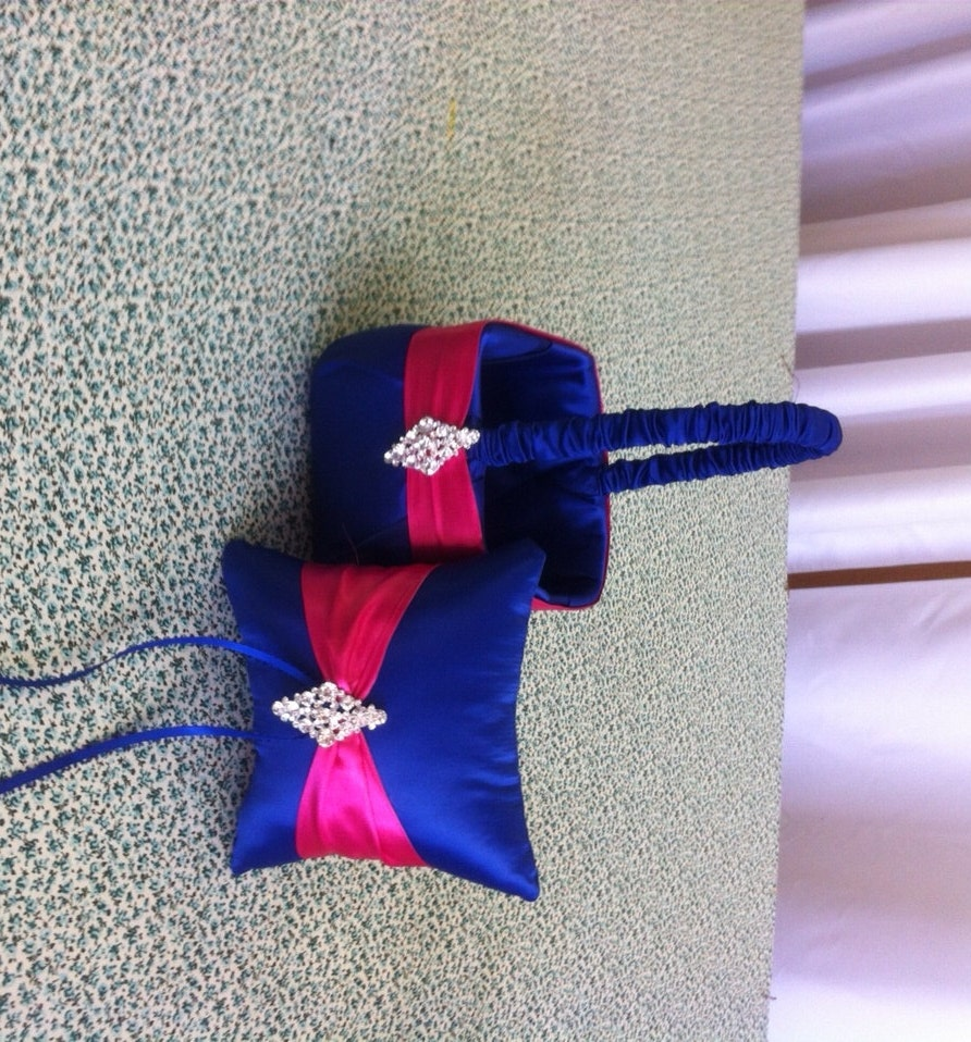 Royal Blue Horizon Satin With Hot Pink Flower Girl Basket And Etsy