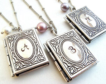 Silver book locket etsy personalized book locket necklace book lover gift silver book locket with initial miniature book teachers gift christian reader aloadofball Images