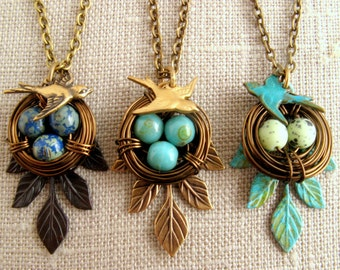 Nest necklace, Bird necklace, Egg nest, Grandma gift, Mothers gift, new mom, one, two, three, four, five eggs, antique leaf,Turquoise patina