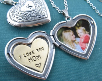 Just Like Mommy Sterling Silver I Love You Inscribed Rose Flower Heart Locket Pendant Necklace Set