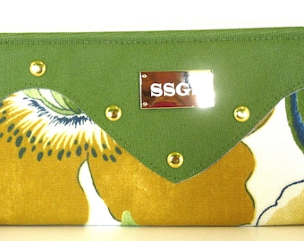 clutch bag green blue faux leather fold over purse