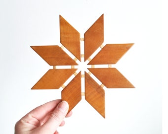 Vintage Geometric Wood Trivet // Scandinavian Kitchen