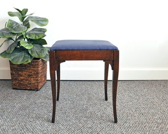 Small Antique Vanity Stool with Upholstered Seat