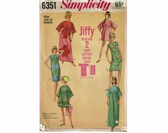 f5ceaecbef434 1960s Simple-To-Sew Jiffy Muu-Muu in Two Lengths and Shift Dress Size 14  Bust 34 Simplicity 6351 60s Sewing Pattern