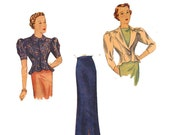 1930s Vintage Sewing Pattern Simplicity 2316 Size 14 1930s Fitted Jacket blouse hip flare & Slim Skirt High fashion glamour evening suit