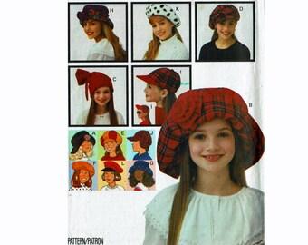 Childrens 8 different hats caps beret floppy bonnet beach cap UNCUT Sewing Pattern Butterick 6942 Girls Boys Kids Teen Tween Fashion Hats