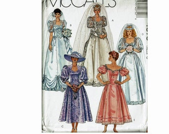 1980s Formal Gown evening Prom Dresses Princess Costume Bridal Belle Wedding Gown Southern 80s Size 8 Uncut Sewing Pattern McCall's 4075