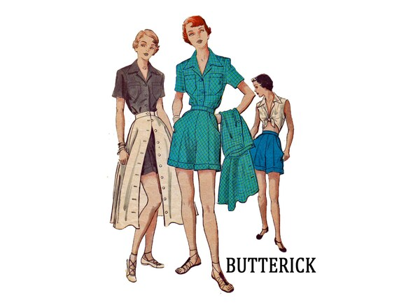 ON SALE Vintage Sewing Pattern 1950 Three Piece Play Suit Blouse ...