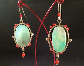 Amazonite & Coral Wire-wrapped Earrings