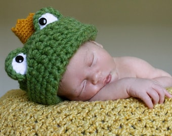 Frog Prince Hat - Crochet Pattern - Permission to sell finished items