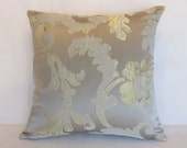Silver and Gold Satin Pillow Cover, Glamorous Metallic Rose and Leaf Jacquard, 17 quot - 18 quot Square,