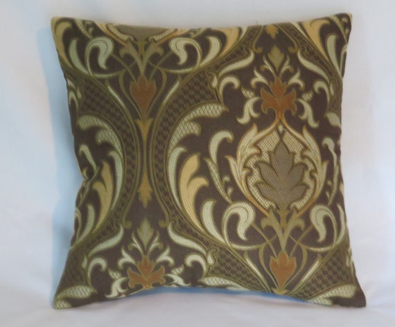 Brown And Orange Brocade Pillow Cover 17 Square Arts Etsy