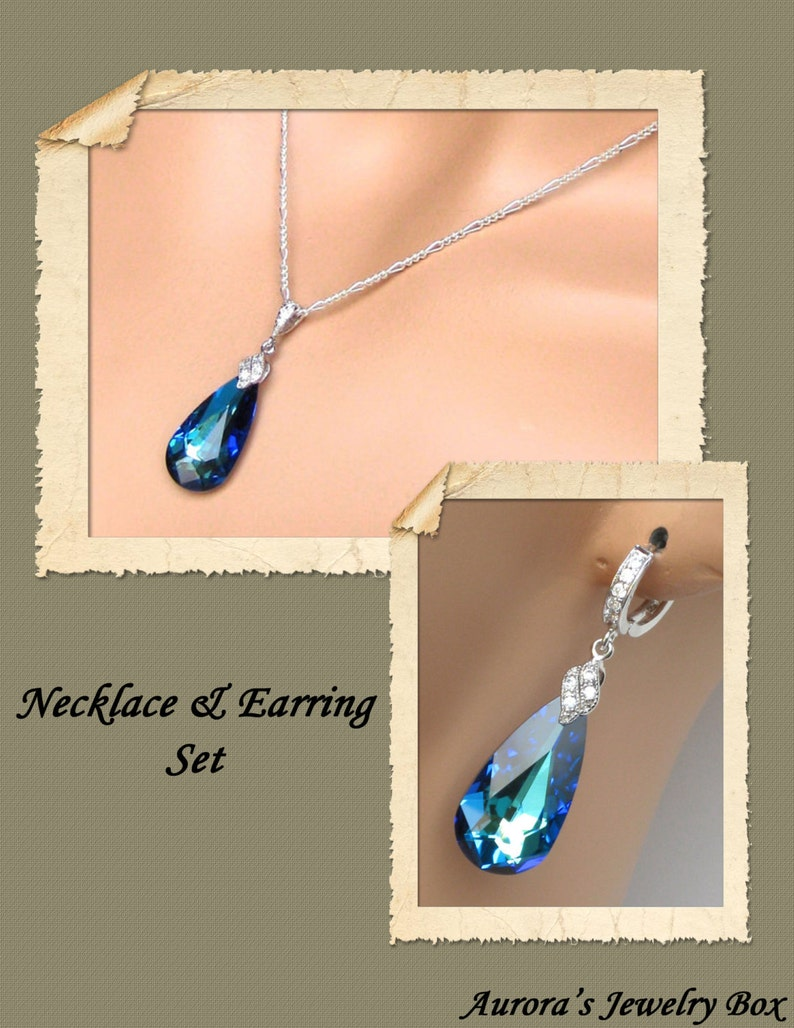 Bridesmaids Jewelry Set Bridal Jewelry Set Bermuda Blue Necklace and Earrings Set