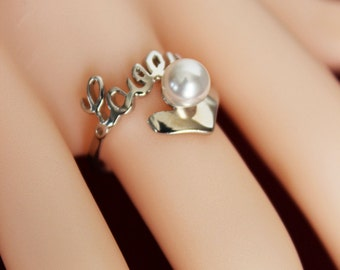 LOVE Heart Sterling Silver Bridesmaids Ring, Wedding Ring, Bridal Ring, Bridesmaids Jewelry Gift, Bridesmaids Pearl Ring