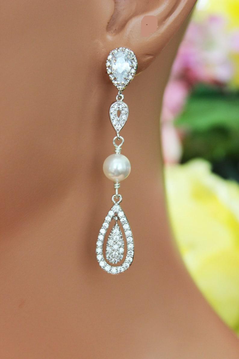 f9633cb16 Crystal Chandelier Wedding Earrings Cubic Zirconia Long | Etsy