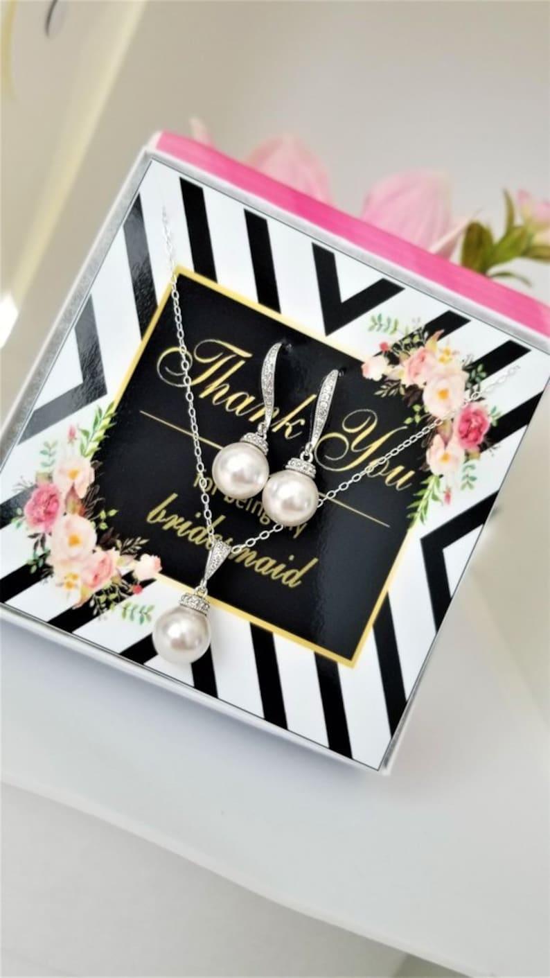 Bridesmaids Jewelry Set Wedding Jewelry Set Pearl Drop Pendant and Pearl Drop Earrings Bridal Jewelry Set Jewelry Set Bridal Accessories