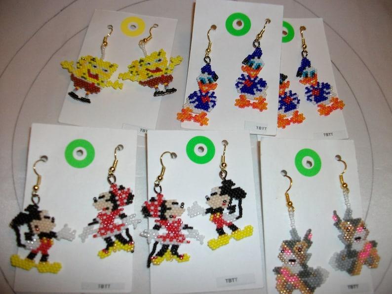Thumper Bambi  Sponge Bob  Donale Duck   Mickey Minnie Mouse   Earrings  Keep