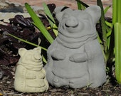 MEDITATING PIG (Choice of Size Color) Solid Stone Zen Animal Buddha Sculpture. Perfect Home Garden Office Gift. Handcrafted in U.S.A