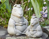 ZEN MEDITATING LLAMAS (Choice Size Color) Solid Stone Inspiring Sculptures. Perfect Home Garden Gift. Outdoor Safe. Handcrafted in U.S.A