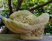 CUPPED HANDS BIRDFEEDER (Choice of Color) Solid Stone Decor Home Office Gift. Michael Gentilucci Original Sculpture. Handcrafted in U.S.A