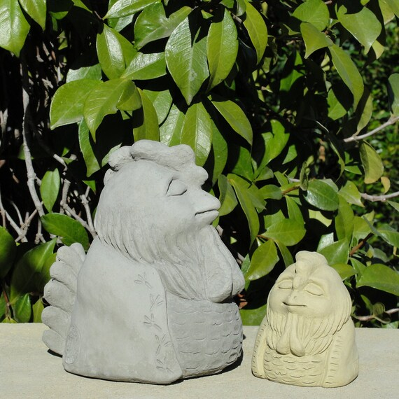 MEDITATING GNOME Choose Your Size /& Color Solid Stone Home Garden Gift Statue Hand-Crafted in the U.S.A. Original Sculpture Outdoor Safe