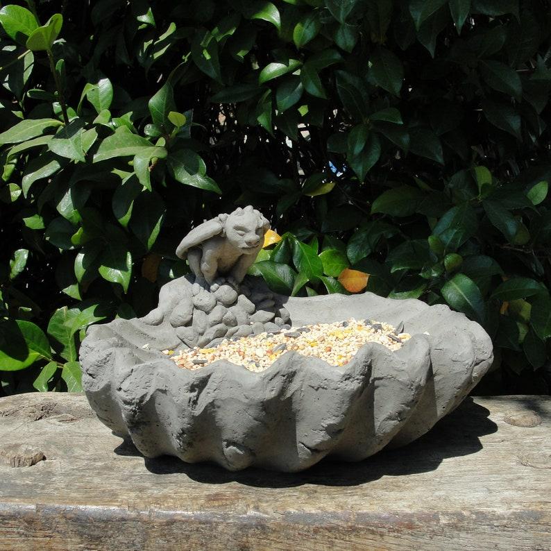 GARGOYLE BIRD FEEDER Solid Stone Bird feeder Bird Bath  Accent Decor for  Patio Lawn  Sealed for Outdoor Use  Made in U S A Choice of Colors