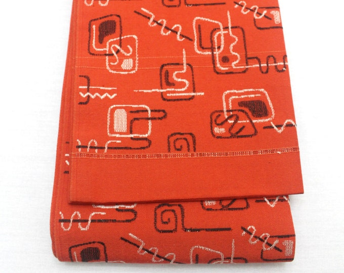 Japanese Obi. Woven Silk Textile. Modern Abstract Red Black White Design (Ref: 1572)