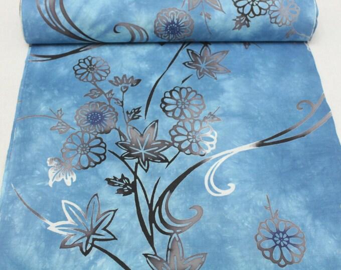 Japanese Artisan Cotton. Vintage Yukata Bolt. Hand Dyed Blue Wash Layered Floral. (Ref: 1581)