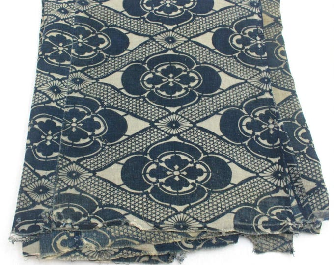 Antique Japanese Katazome Textile. Handwoven Cotton. Natural Indigo Stencil Dyed Folk Fabric  (Ref: 1592)