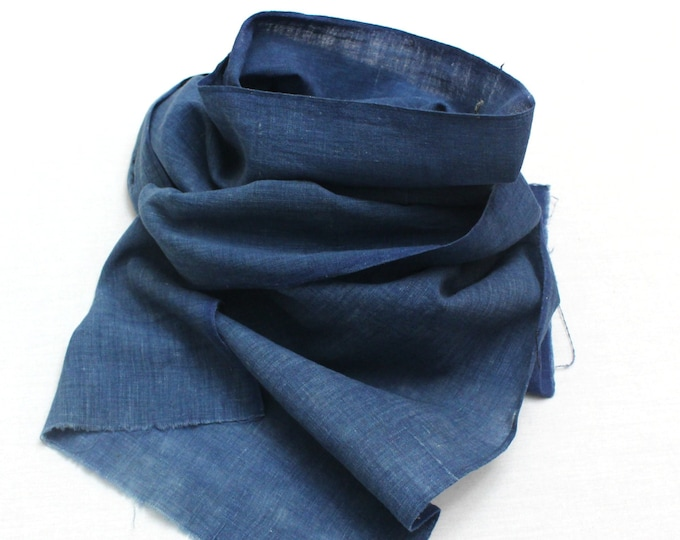 Japanese Indigo Cotton. Artisan Aizome Boro Textile. Blue Vintage Folk Fabric (Ref: 1726)