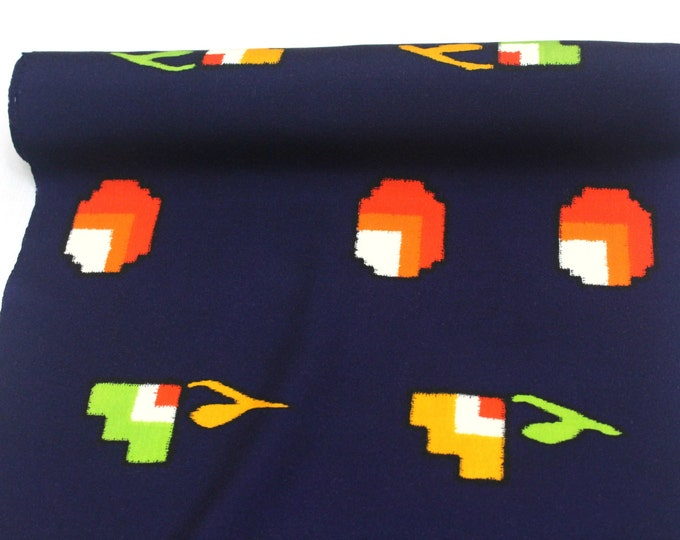 Japanese Wool. Dark Indigo Blue Pixelated Red Yellow Green Design. Modern Kimono Bolt of Fabric (Ref: 1575)