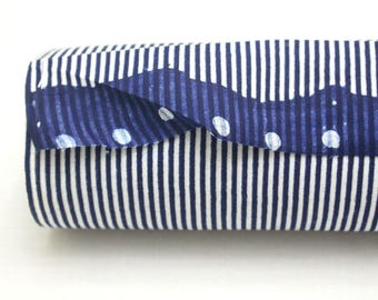Japanese Vintage Indigo Yukata Cotton. Full Fabric Bolt for Traditional Clothing. Hand Dyed Indigo Blue Striped (Ref: 1782)