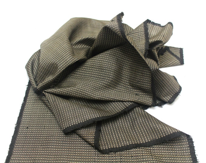 Antique Ooshima Tsumugi Ikat Silk. Japanese Vintage Artisan Fabric. Hand Loomed Textile. Botanical Dye. Brown. (Ref: 1555B)