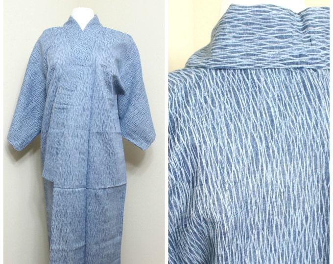 Arimatsu Narumi Shibori Kimono. Natural Indigo Dye. Vintage. Blue Cotton Robe. (Ref: 1505)
