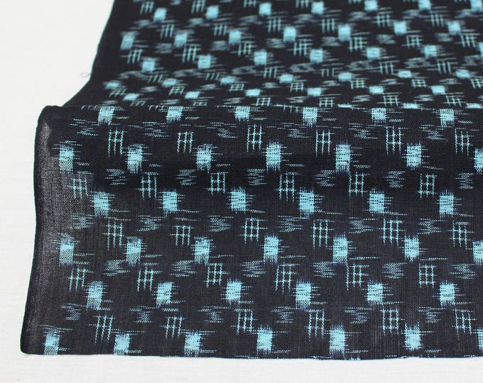Japanese Vintage Kasuri Ikat. Woven Indigo Cotton Bolt. Traditional Folk Fabric. Bingo (Ref: 1408)