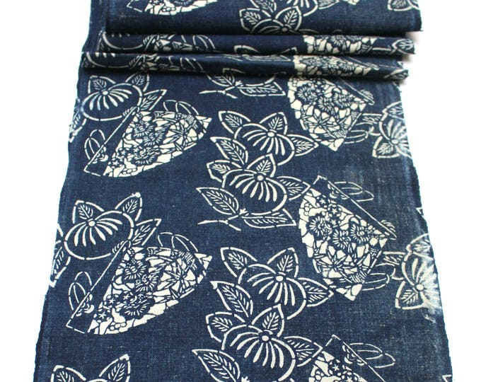 Japanese Katazome Cotton. Boro Textile. Natural Indigo Stencil Dyed Folk Fabric  (Ref: 1859)
