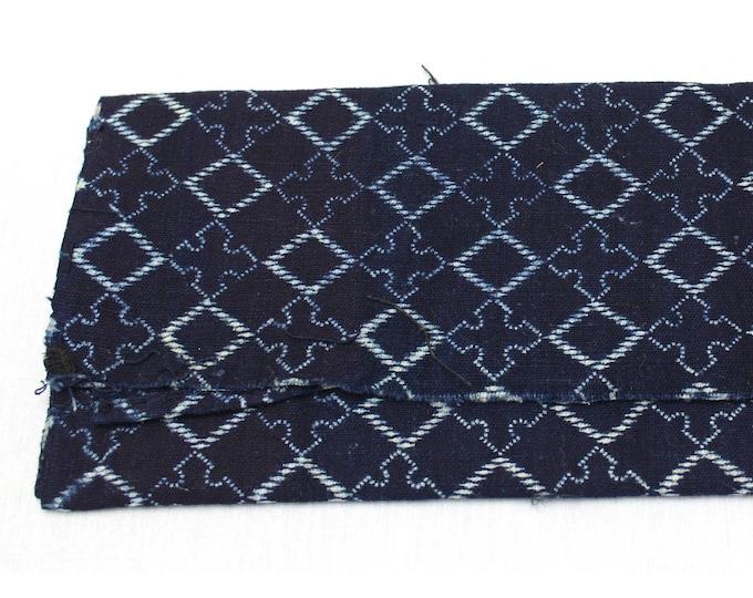 Japanese Katazome. Indigo Dyed Textile. Japanese Indigo. Stenciled Cotton. Japanese Fabric. Vintage Indigo. Quilting Cotton. Antique Cotton.
