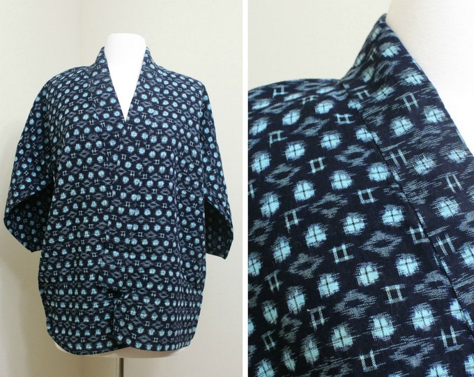IKAT Haori Jacket. Vintage Japanese Indigo Kasuri Cotton Folk Noragi Peasant Clothing (Ref: 1367)