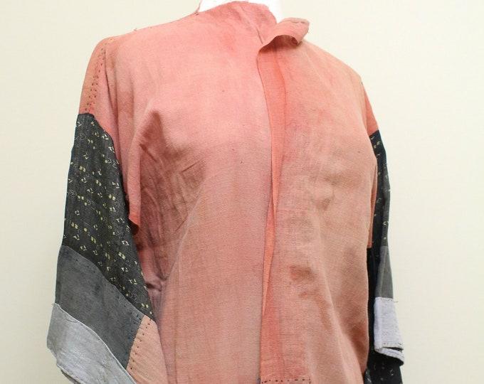 Japanese Boro Safflower Kimono. Antique Folk Textile Kimono (Ref: 1863)