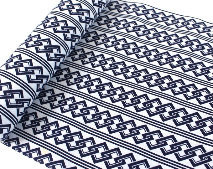 Japanese Cotton. Blue and White. Geometric Cotton. Vintage Fabric. Yukata Cotton. Cotton Fabric. Light Cotton. Japanese Fabric. Traditional