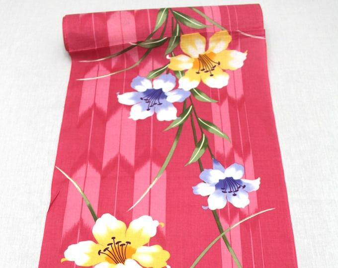 Japanese Cotton. Yukata Cotton. Japanese Fabric. Pink Cotton. Pink Yukata (Ref: 1552)