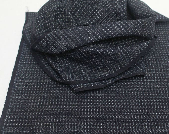 Hand Loomed Antique Cotton. Japanese Kasuri Kagasuri Ikat. Dark Indigo Blue Black Scarf. (Ref: 1589B)