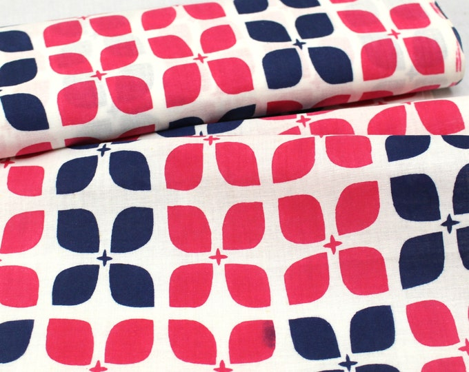 Japanese Vintage Yukata Cotton Fabric. Hand Dyed Printed. Retro Mid-Century Pink Blue Graphic Design (Ref: 1811)