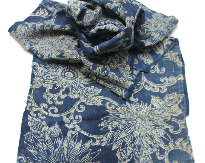 Japanese Katazome Cotton. Boro Textile. Natural Indigo Stencil Dyed Folk Fabric  (Ref: 1956)
