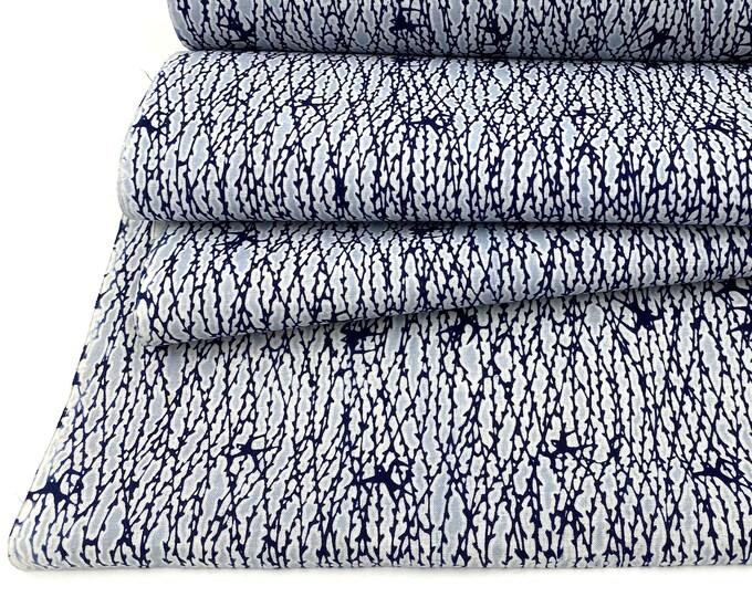 Vintage Japanese Cotton. Yukata Bolt. Blue and White. Botanical Design Cotton. Japanese Floral Fabric. Japanese Indigo. Indigo Cotton