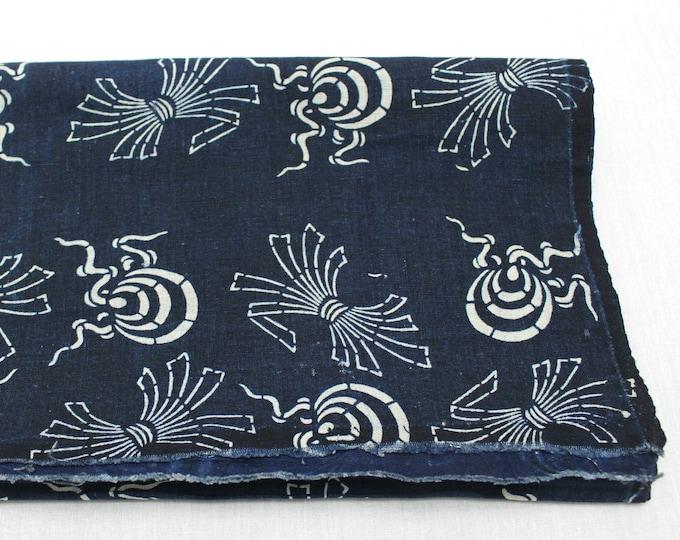 Japanese Katazome Cotton. Boro Textile. Natural Indigo Stencil Dyed Folk Fabric  (Ref: 1896)